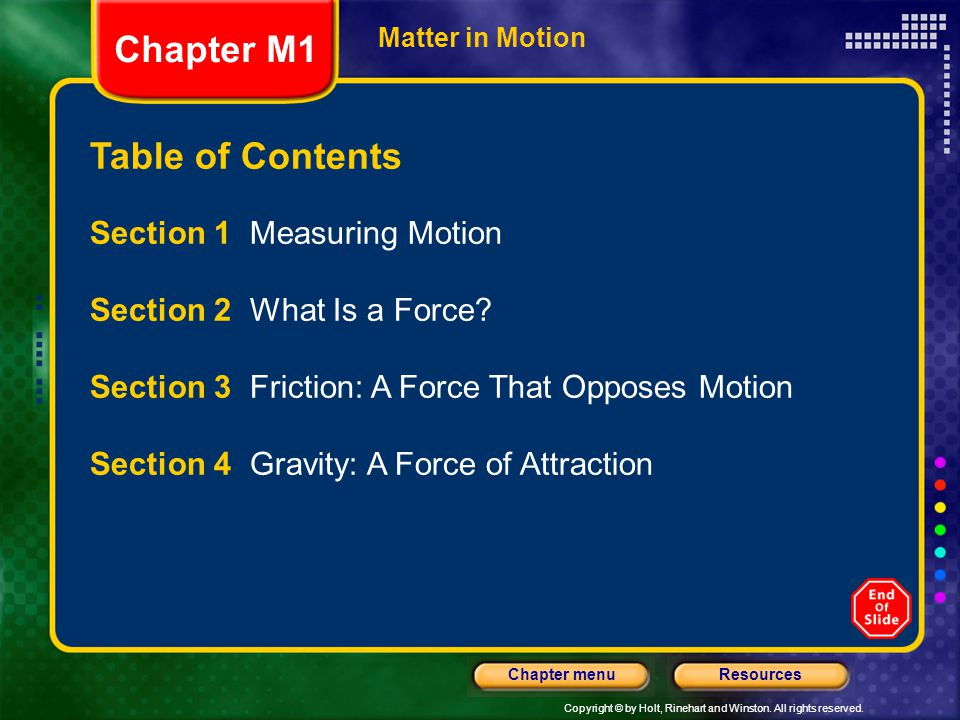 Chapter M1 Table of Contents Section 1 Measuring Motion