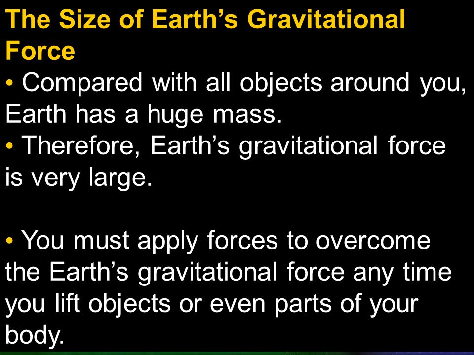 The Size of Earth's Gravitational Force