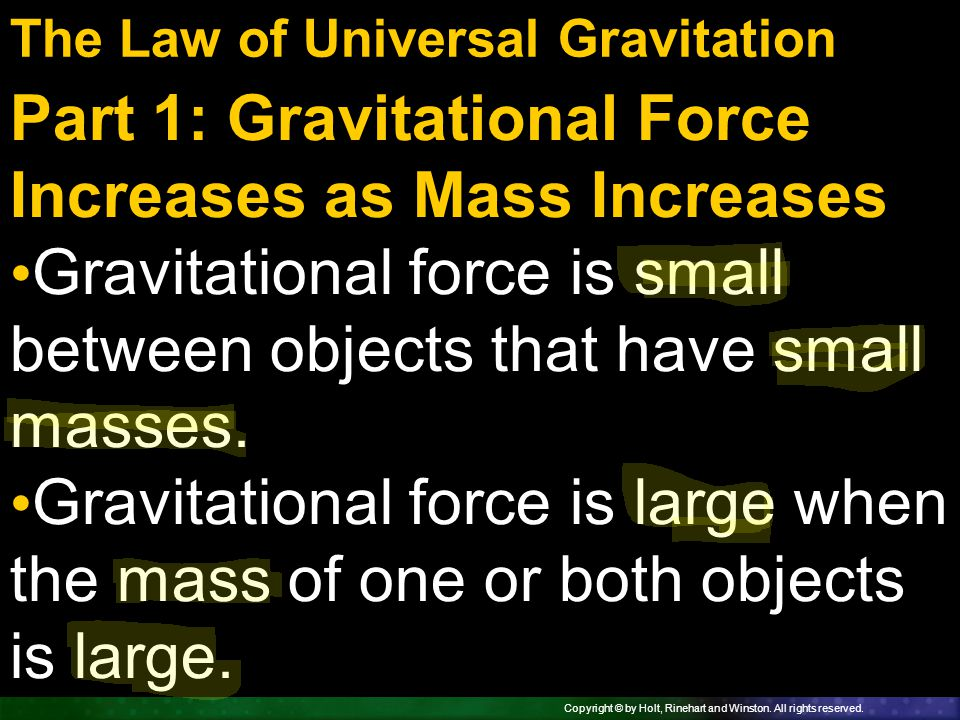 Part 1: Gravitational Force Increases as Mass Increases