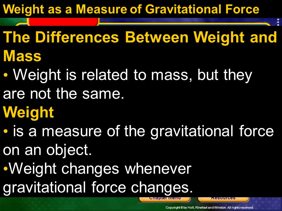 The Differences Between Weight and Mass