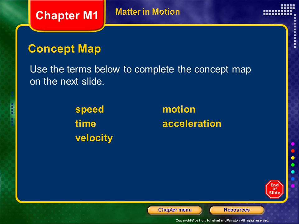 Chapter M1 Matter in Motion. Concept Map. Use the terms below to complete the concept map on the next slide.