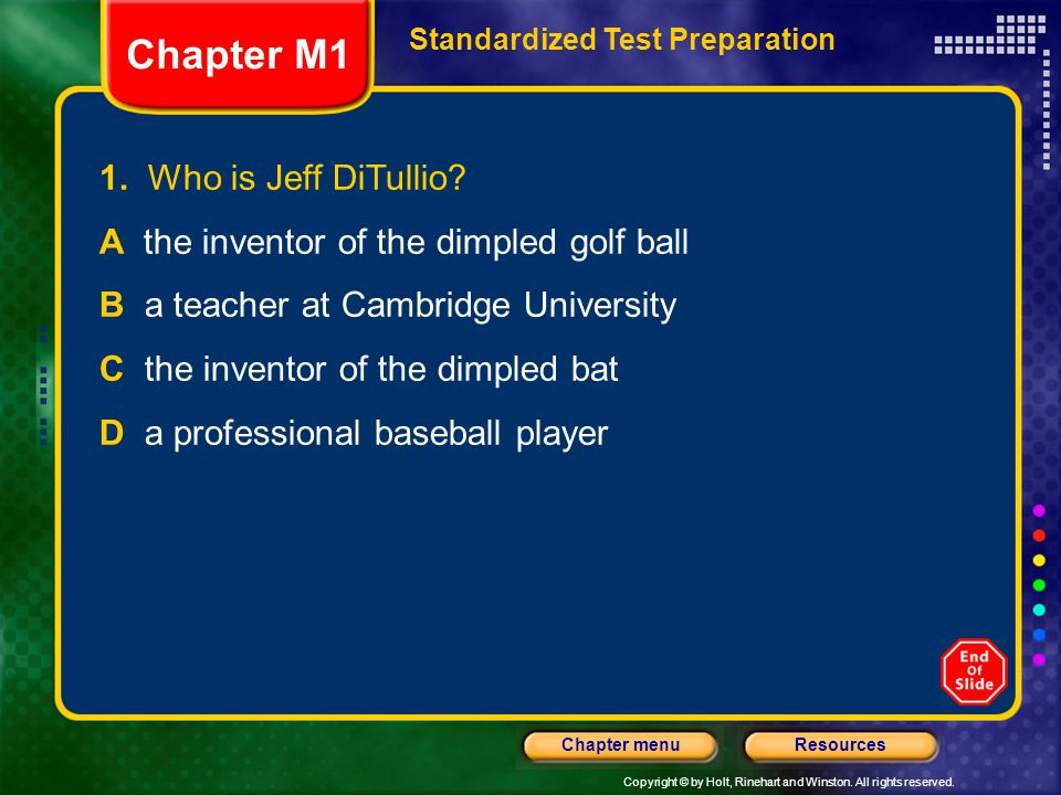Chapter M1 1. Who is Jeff DiTullio