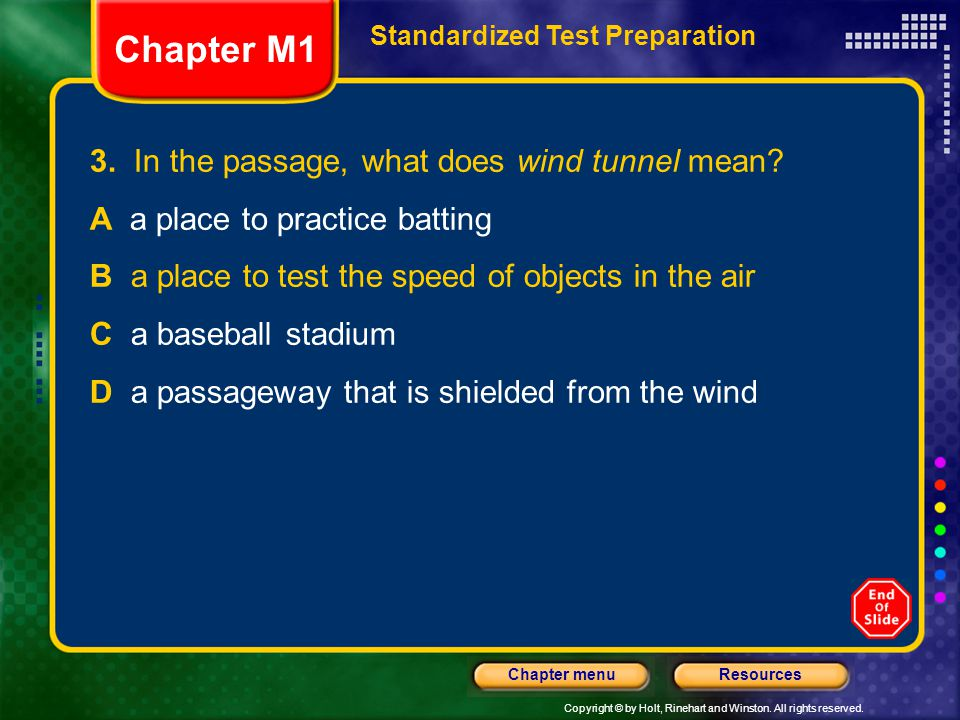 Chapter M1 3. In the passage, what does wind tunnel mean