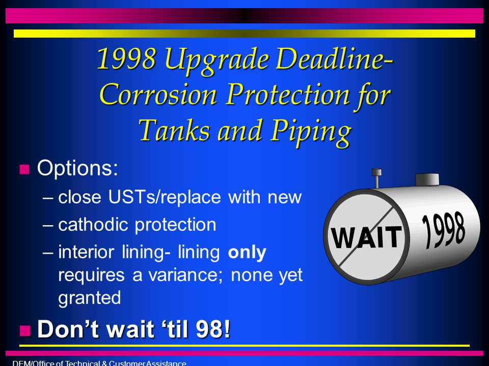 1998 Upgrade Deadline- Corrosion Protection for Tanks and Piping