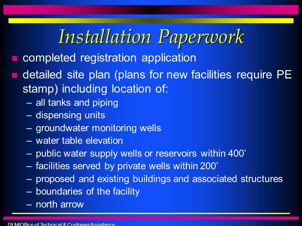Installation Paperwork