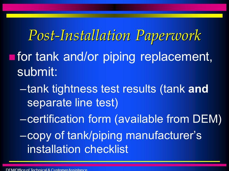 Post-Installation Paperwork
