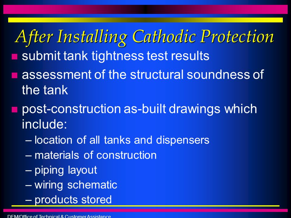 After Installing Cathodic Protection