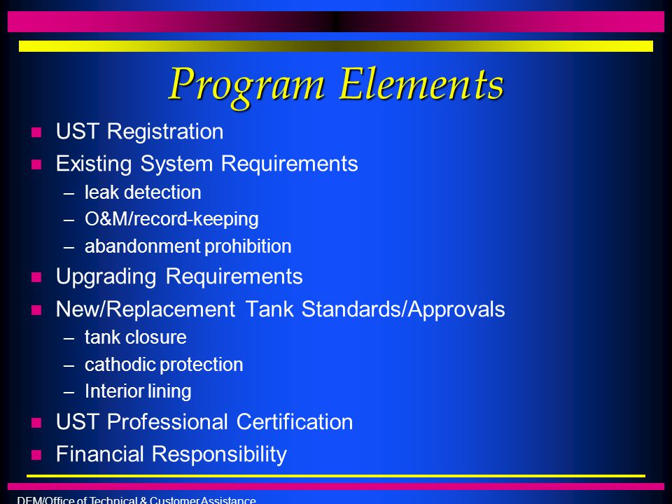 Program Elements UST Registration Existing System Requirements