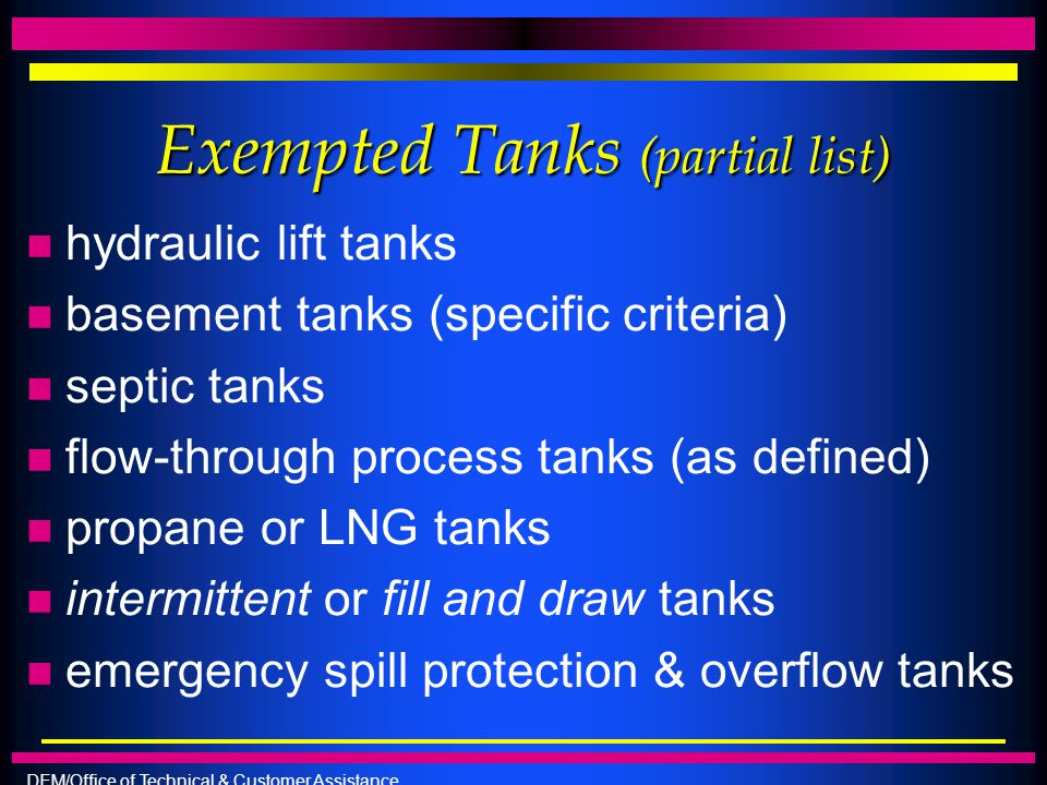 Exempted Tanks (partial list)