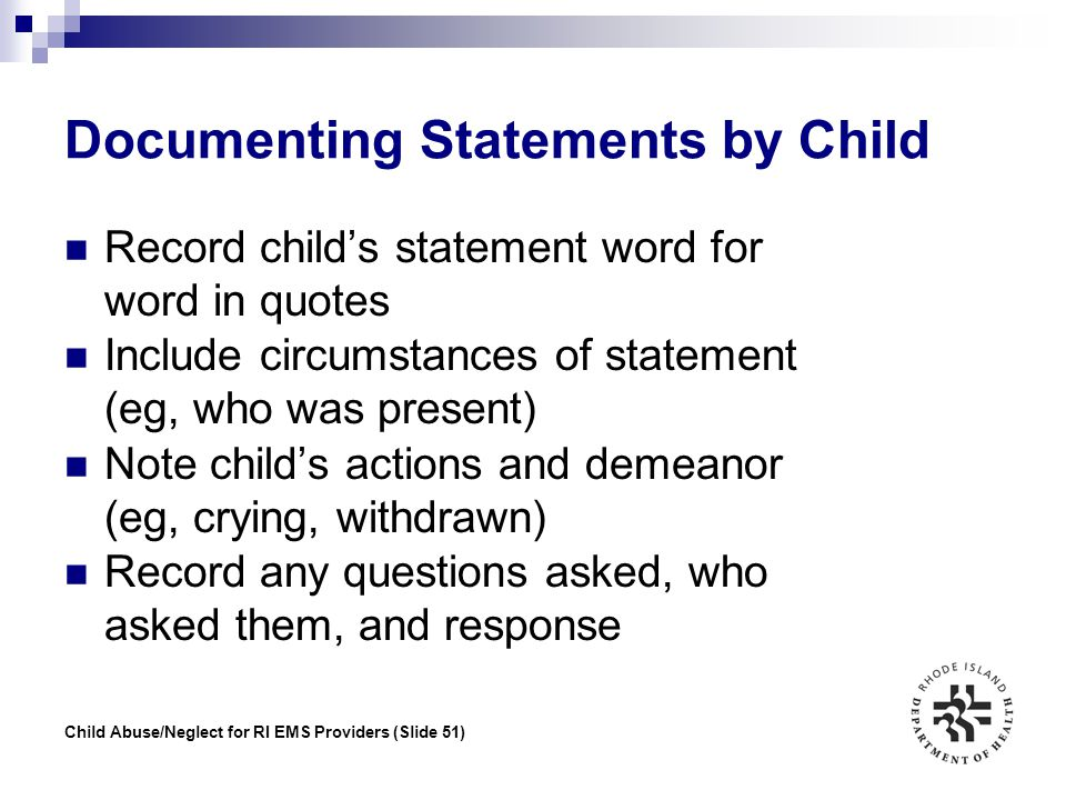 Documenting Statements by Child