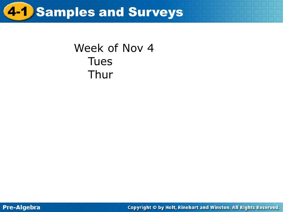 Week of Nov 4 Tues Thur
