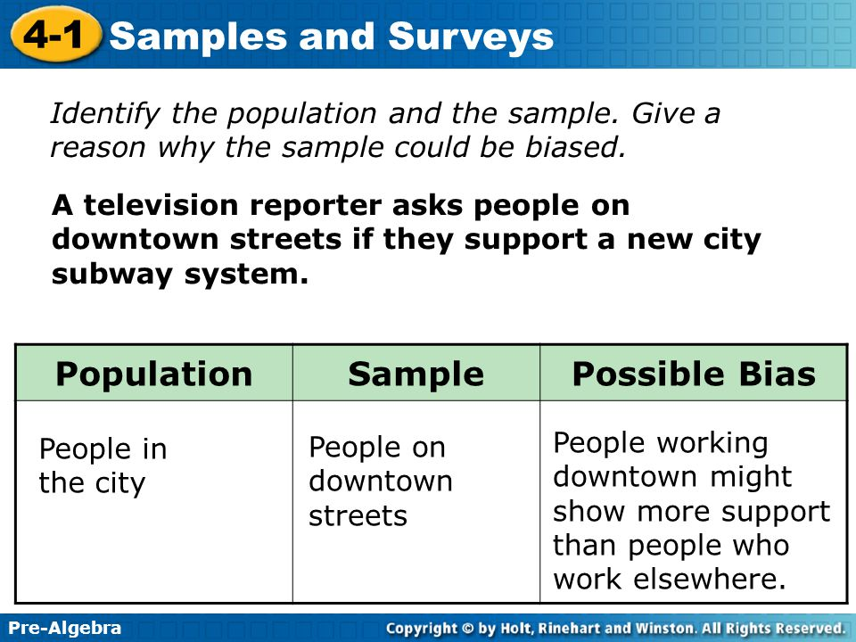 Population Sample Possible Bias