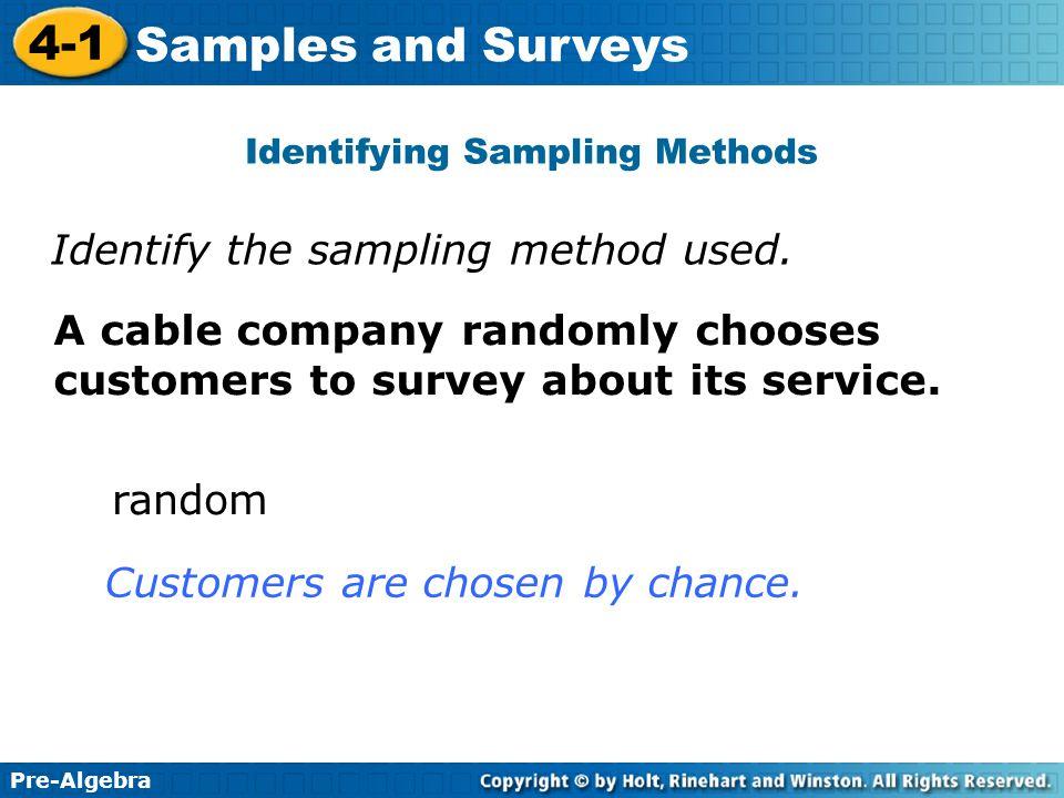 Identifying Sampling Methods