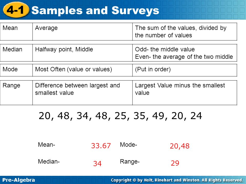 Mean Average. The sum of the values, divided by the number of values. Median. Halfway point, Middle.