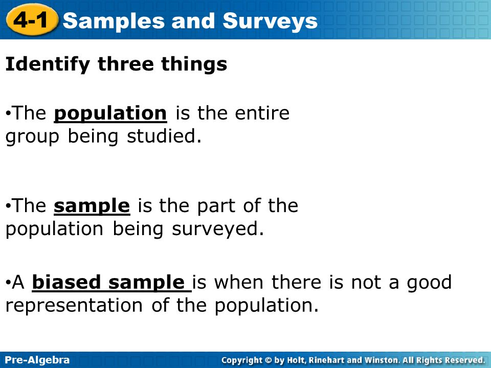 Identify three things