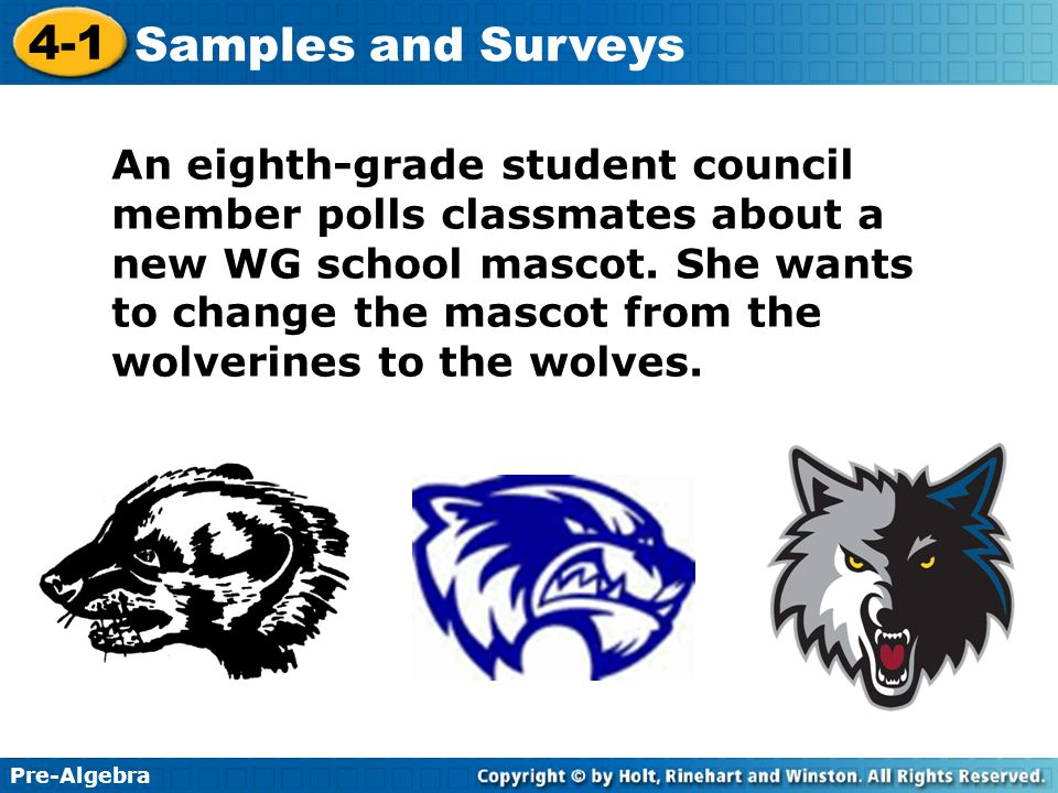 An eighth-grade student council member polls classmates about a new WG school mascot.