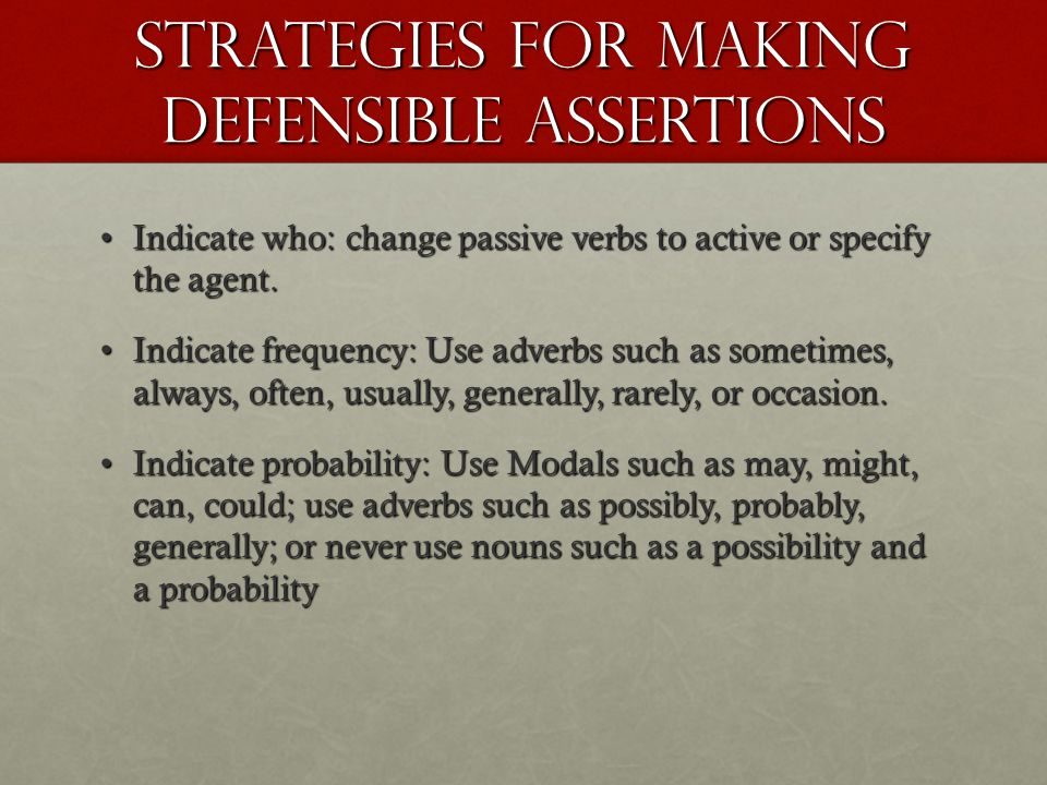 Strategies for Making Defensible Assertions