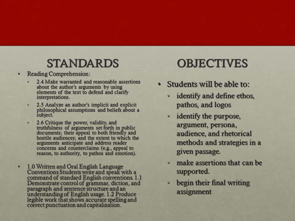 STANDARDS OBJECTIVES Students will be able to: