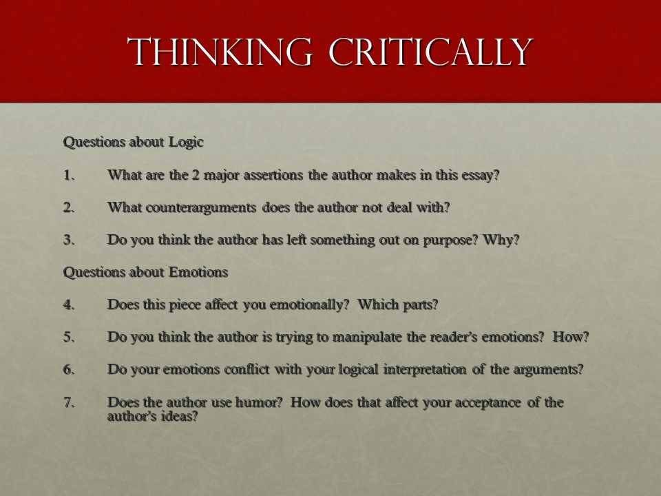 Thinking Critically Questions about Logic