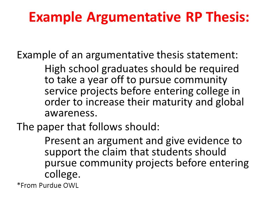 Example Argumentative RP Thesis: