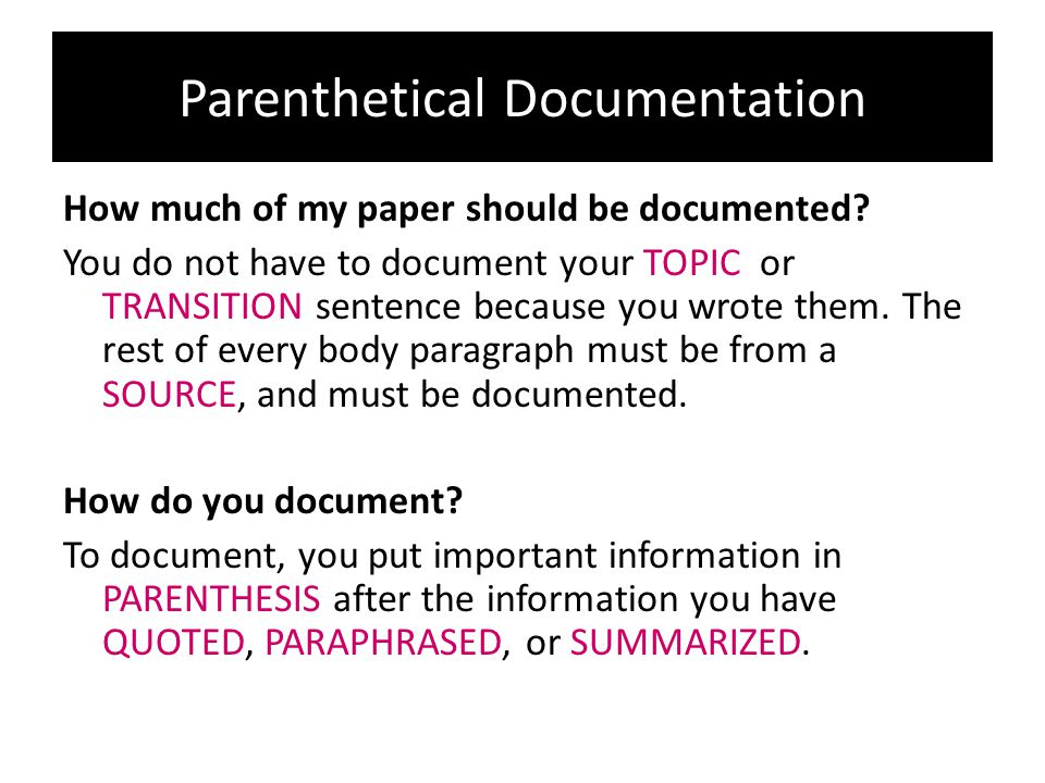 Parenthetical Documentation