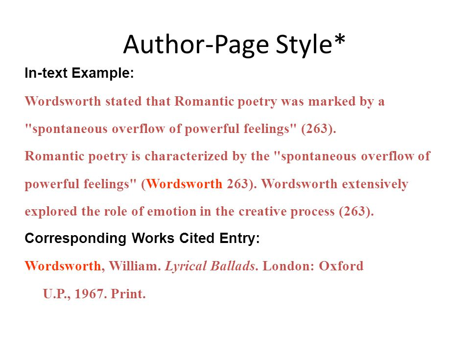 Author-Page Style* In-text Example: