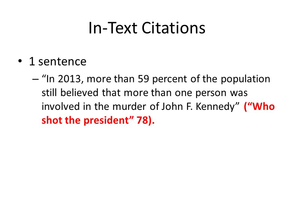 In-Text Citations 1 sentence