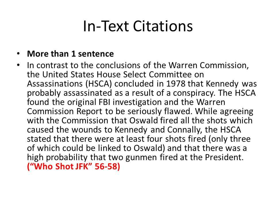 In-Text Citations More than 1 sentence
