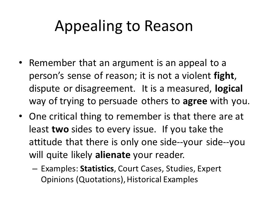 Appealing to Reason