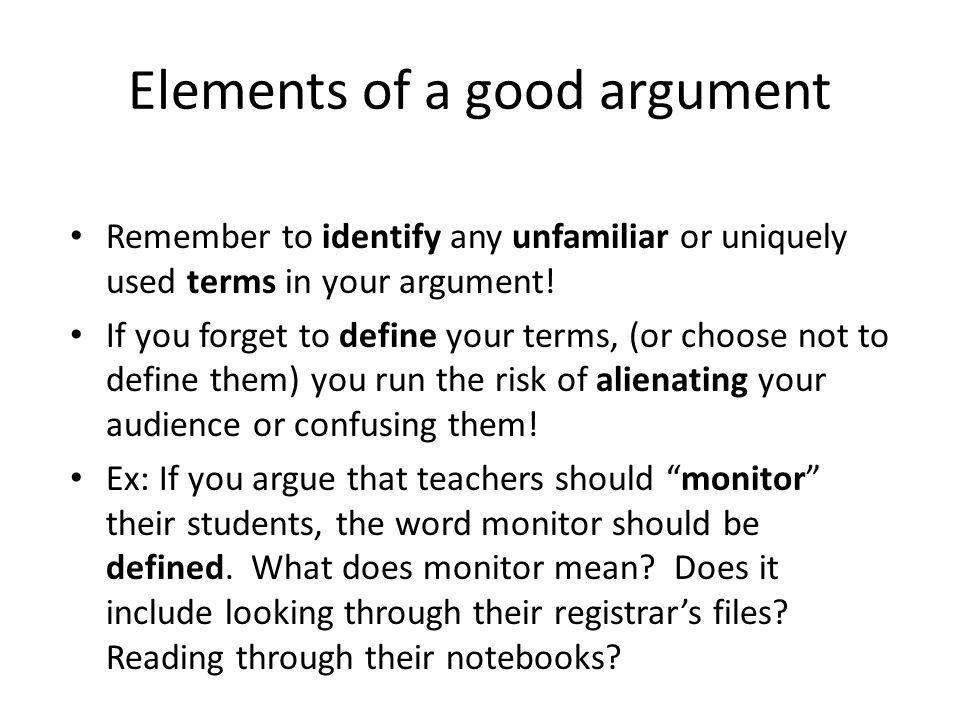 Elements of a good argument