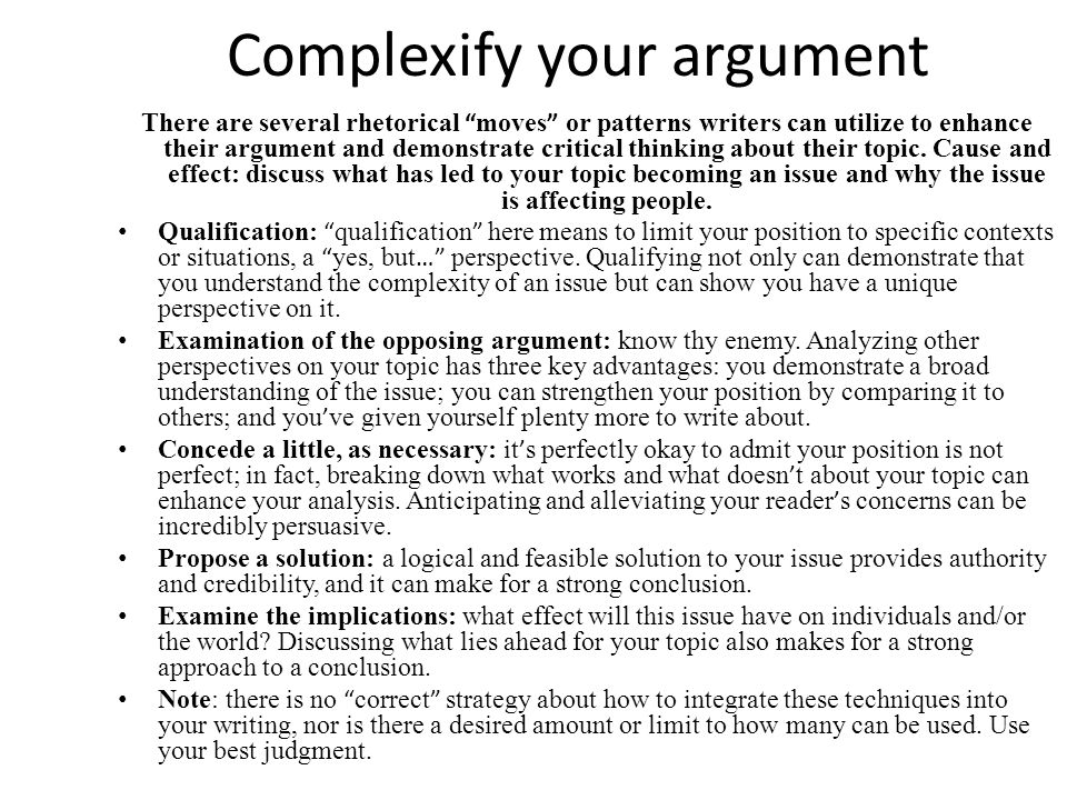 Complexify your argument
