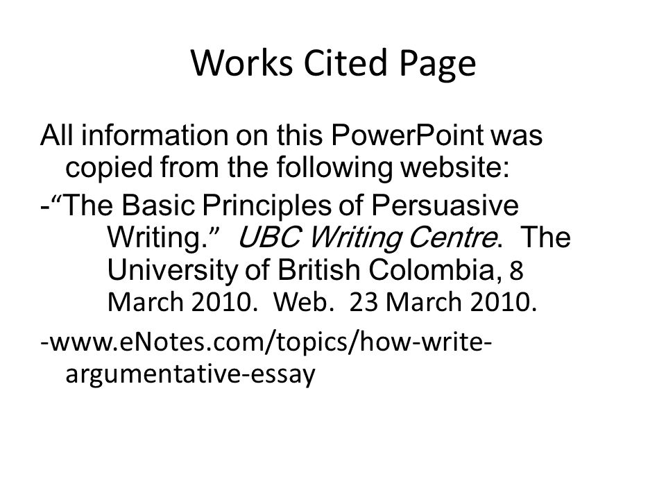 argumentative essay with work cited pages Label the page works cited (do not italicize the words works cited or put them in quotation marks) if you have cited more than one work by a particular author, order the entries alphabetically by title.