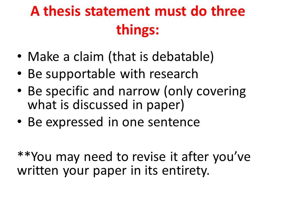 debatable claim thesis statement