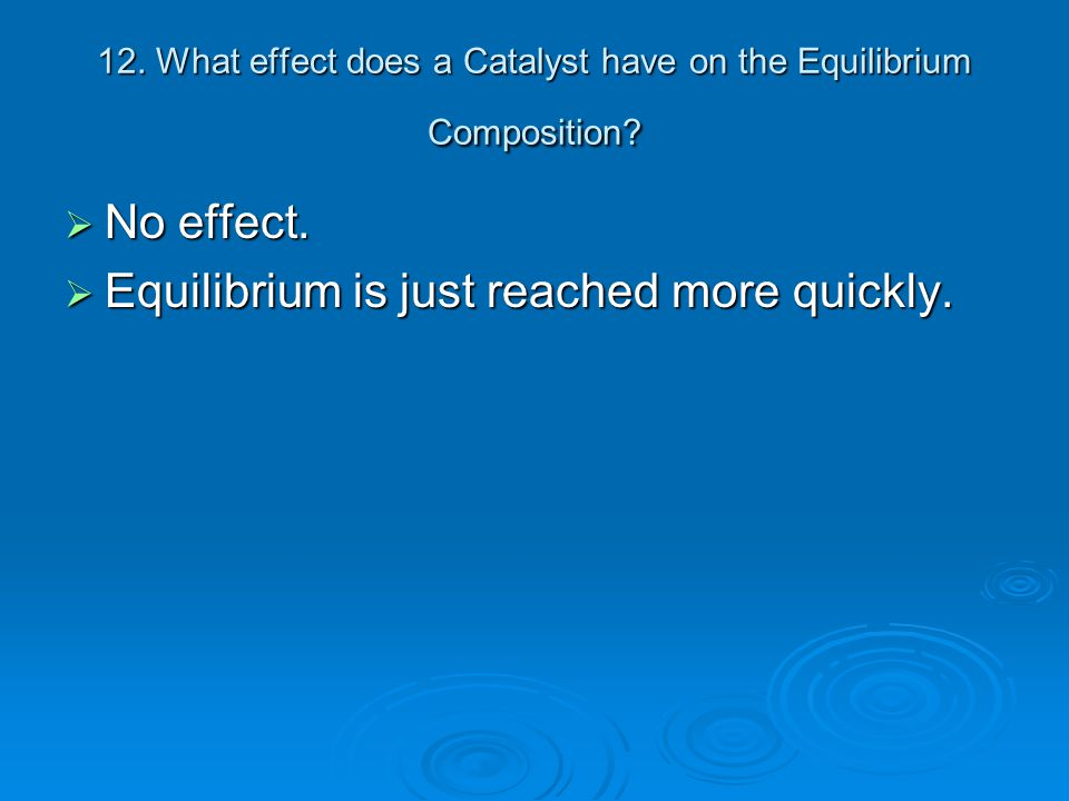 12. What effect does a Catalyst have on the Equilibrium Composition