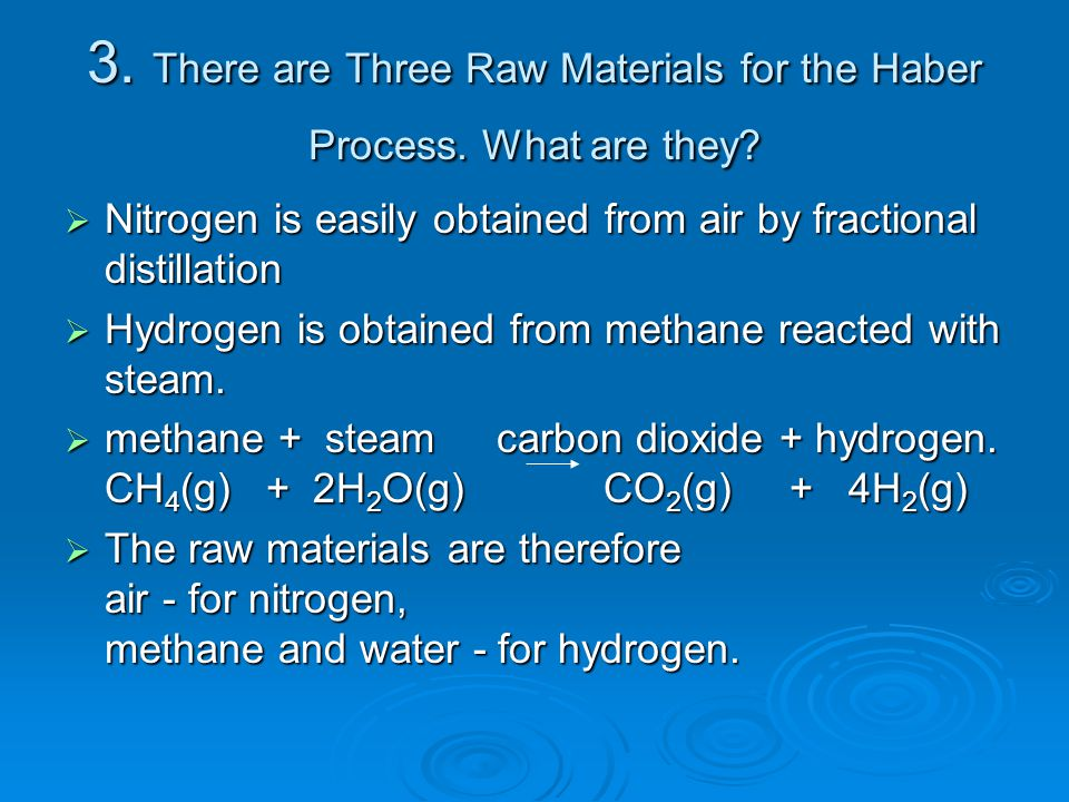 3. There are Three Raw Materials for the Haber Process. What are they