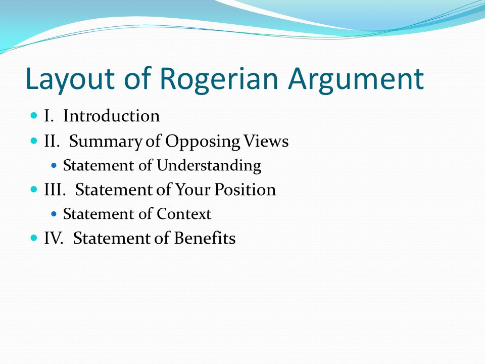 rogerian argument essays A list of unique rogerian argument essay topics for college the goal of a rogerian argument essay is for the two opposing sides of the argument to solve the problem.