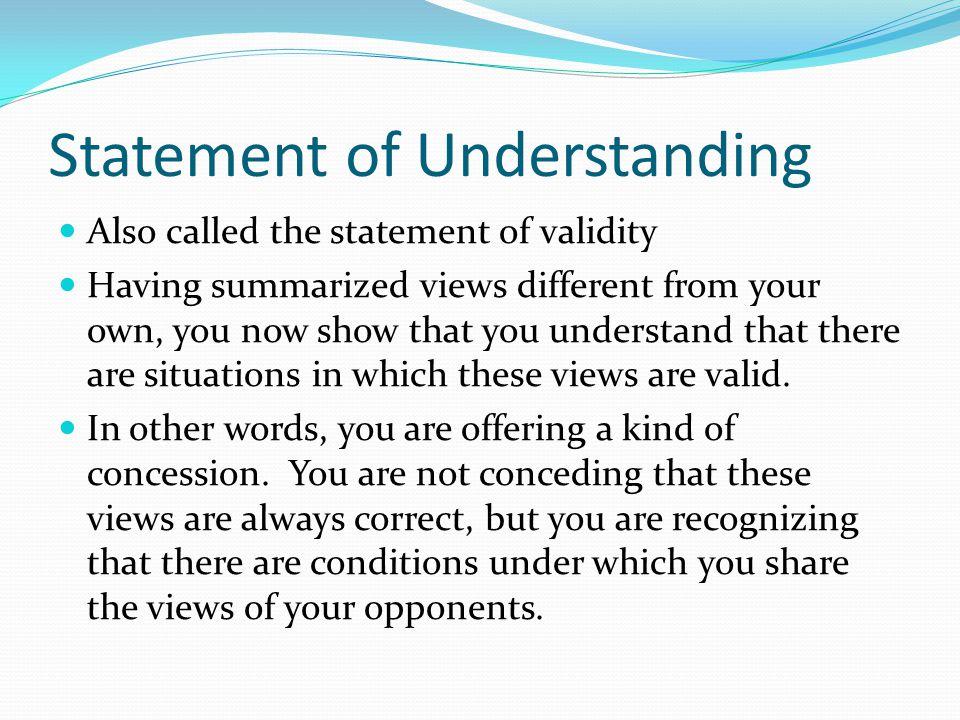 Statement of Understanding