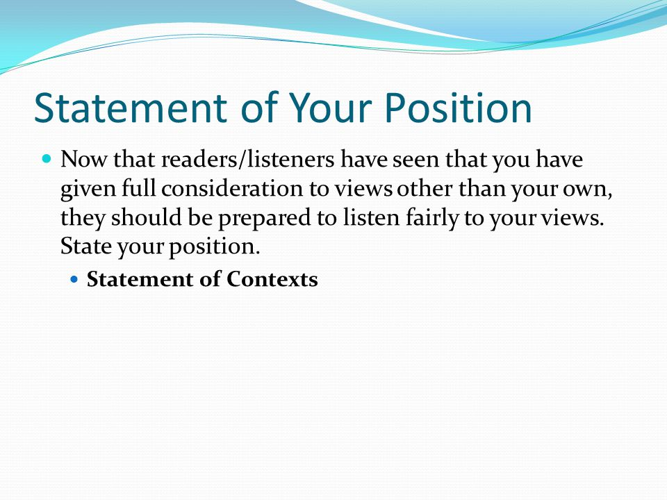 Statement of Your Position