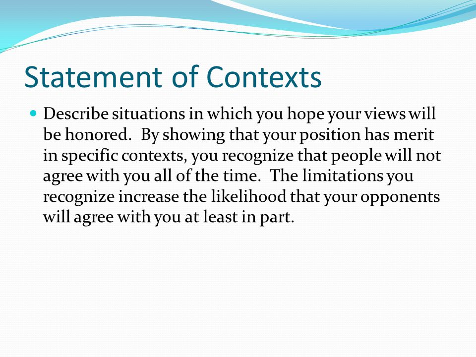 Statement of Contexts