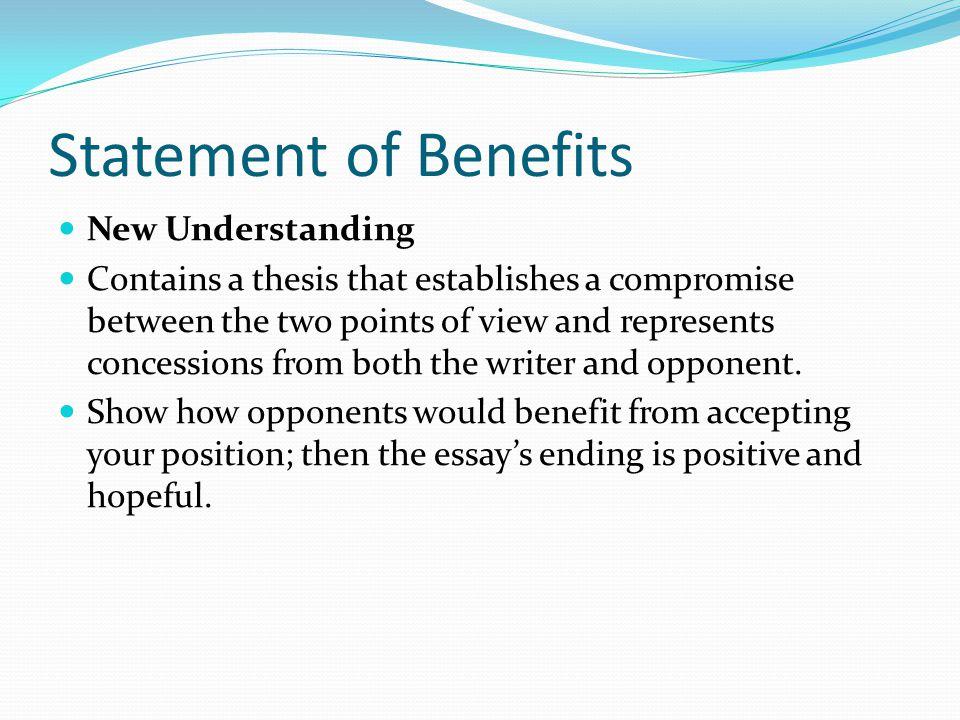 Statement of Benefits New Understanding