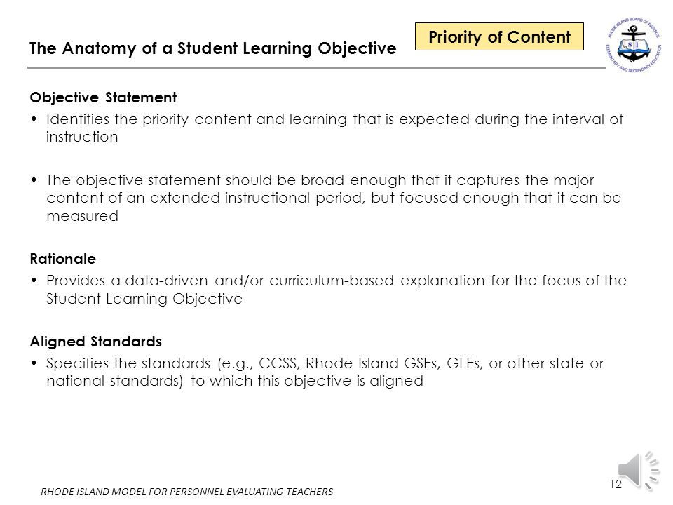 The Anatomy of a Student Learning Objective