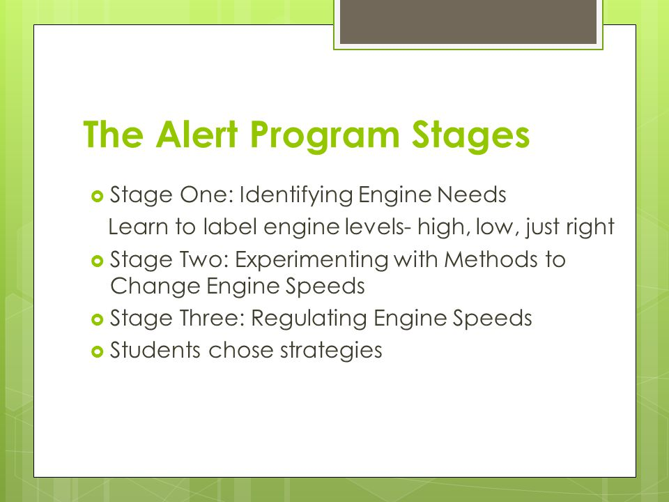 The Alert Program Stages