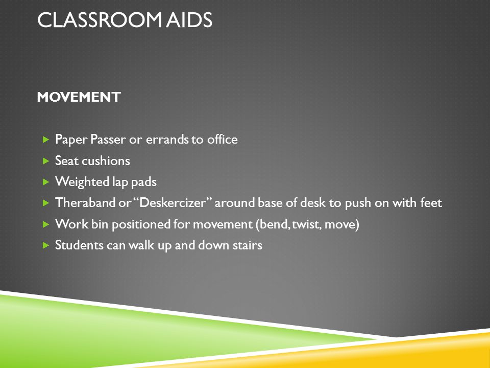 CLASSROOM AIDS MOVEMENT Paper Passer or errands to office