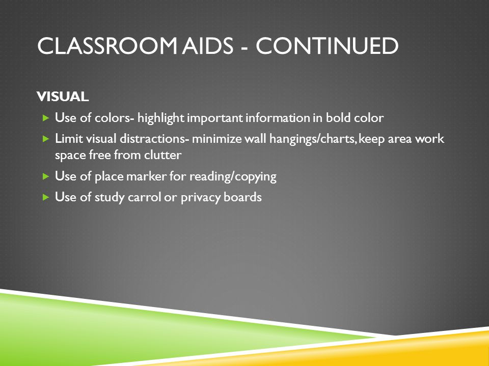 Classroom Aids - Continued