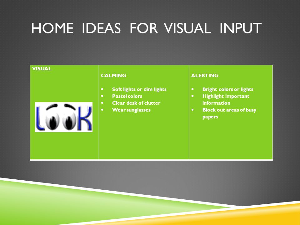 Home ideas for visual input
