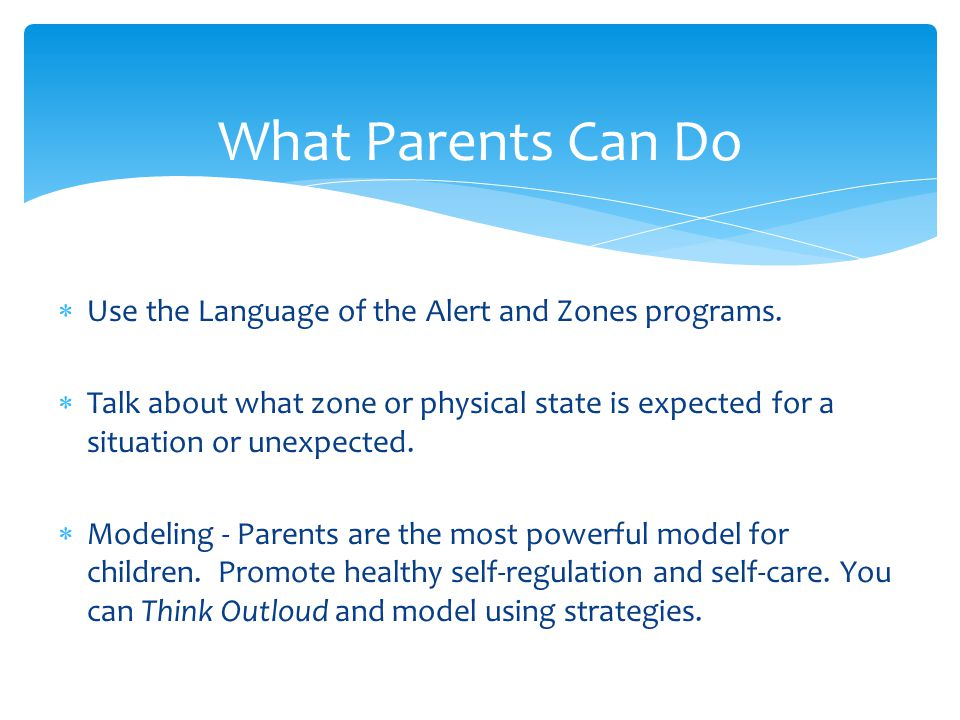 What Parents Can Do Use the Language of the Alert and Zones programs.