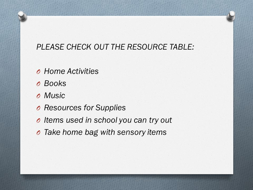 PLEASE CHECK OUT THE RESOURCE TABLE: