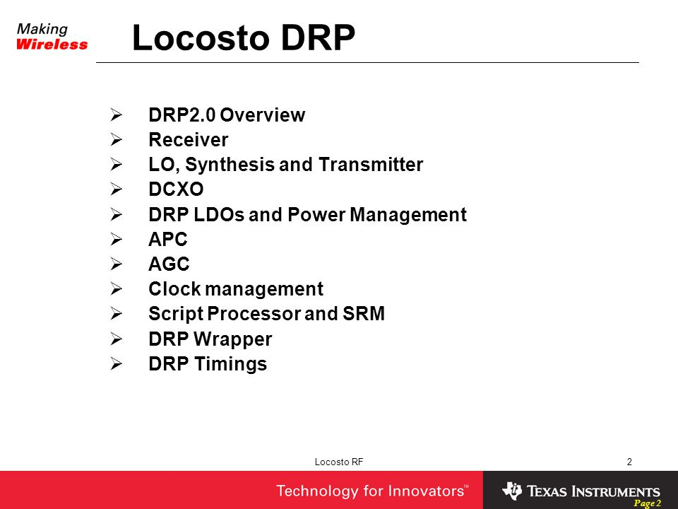 Locosto DRP DRP2.0 Overview Receiver LO, Synthesis and Transmitter