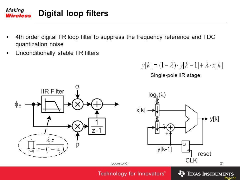 Digital loop filters 4th order digital IIR loop filter to suppress the frequency reference and TDC quantization noise.
