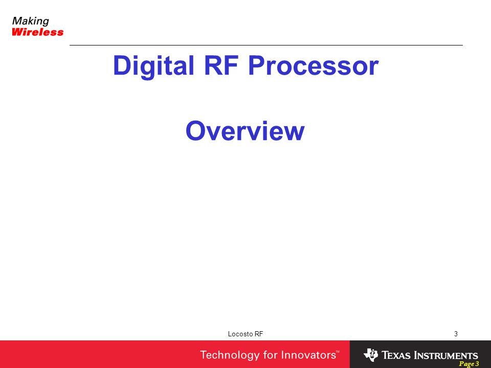 Digital RF Processor Overview